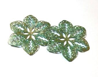 Handpainted Brass Filigree Flower. Filigree Connectors. Pendant. Peridot. Gold. Brass Findings. Earring Drops. 45mm. One Pair (2).