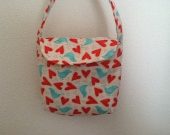 Little Girls Purse with birds and hearts