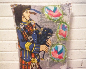 Bagpipe player throw pillow flying pigs weird applique sofa fiber art humor handmade OOAK stuffed tall red blue pink