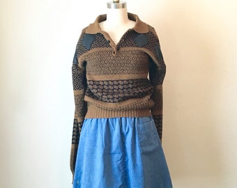 Vintage Black and Brown Knit Pattern Sweater, Women's Medium