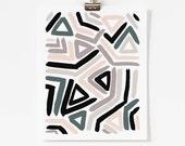 Abstract Geometric Art Print - Modern Graphic Wall Art - Pastel Pink and Blue Pantone 2016 - Vertical or Horizontal - 5x7, 8x10, 11x14