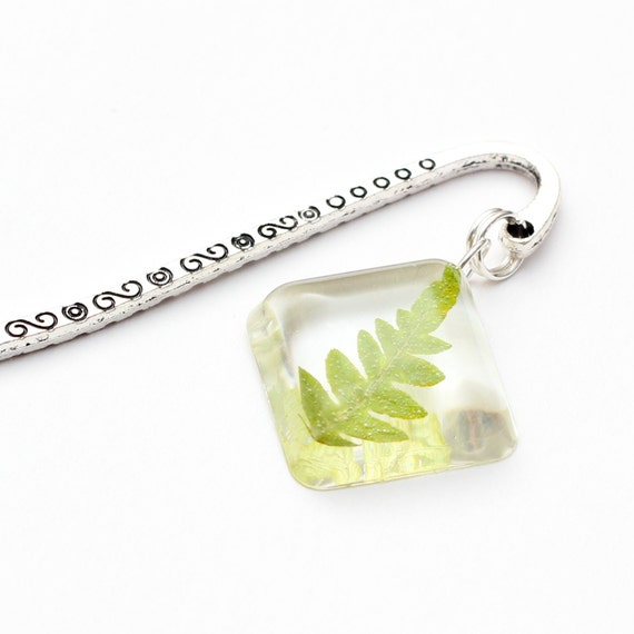 Natural Forest Leaf bookmark - leaf bookmark, natural bookmark, fern bookmark, natural accessories, nature, green, book accessories