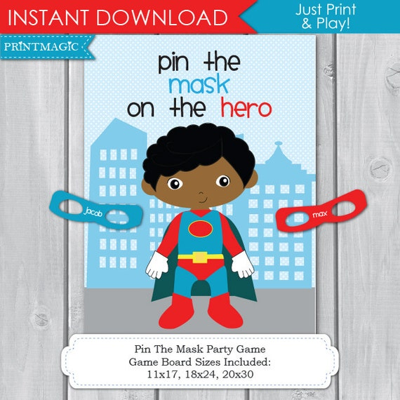 pin the mask on the superhero printable party game by