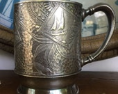 Victorian Silver Plate Baby Child Youth Cup American Japanese Aesthetic Design Late 1800s Hartford