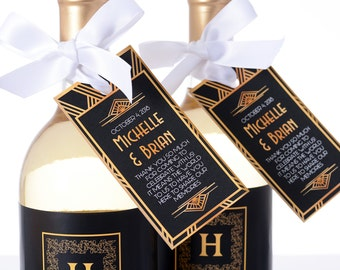 Art Deco Wedding Tags - Wine Bottle Tags, Favor Box Tags, Bag Tags - Personalized Gatsby Wedding Favor Tags - Hanging Tags
