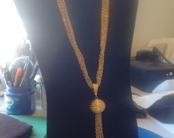 6 Chain Necklace with Ball and Chain Drop