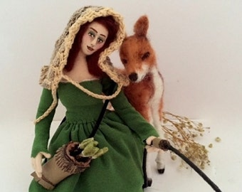 Artemis cloth art doll hunting goddess needle felt deer posable soft sculpture