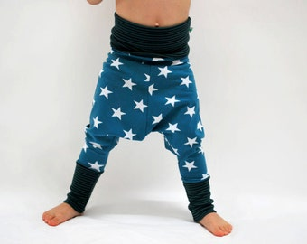 Kids jersey pants teal blue baby leggings baggy comfy kids clothes stretchy white star trousers stretch knit baby harem twinkle star toddler
