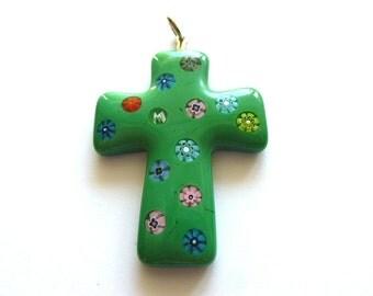 MURANO GLASS Millefiori Cross Pendant, Green Glass Focal Cross, OOAK Murano Glass, Cross Supplies, Jewelry Supplies, Handcrafted Cross, Art