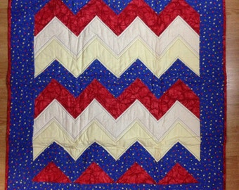Red And Blue Chevron Baby Quilt