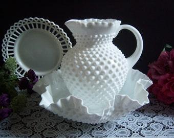 Fenton Hobnail Milk Glass Pitcher and Bowl - Hobnail Pitcher and Bowl - Hobnail Pitcher - Hobnail Bowl - Pitcher and Bowl - White Milk Glass