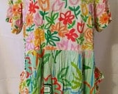 """RESERVED FOR KELLY Great Little Tropical Mod Floral -Jams World-Beach Resort Casual-Hipster-Boho-Mini Dress-Size 12-Large-Medium-44"""" Bust"""