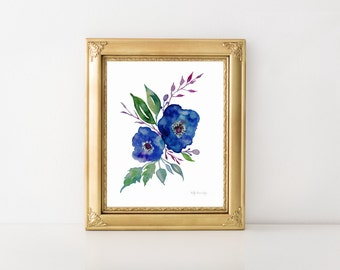 Fleur No. 3, DIY printable, instant download, botanical print, watercolor botanical, watercolor flowers, cottage chic, floral watercolor