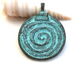 30mm Large Spiral Pendant bead, Double sided, Verdigris Patina, Boho Circle, Round, Greek metal casting - 1pc - F367