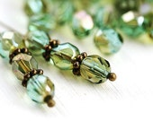 30pc Light Teal and Olivine beads, Celsian, Fire polished 6mm rounds, czech glass spacers, faceted beads - 1829