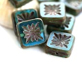 8pc Square beads, Aqua Blue, Czech glass beads, picasso finish, table cut, carved squares - 10mm - 8Pc - 2794