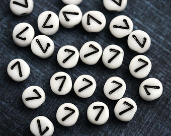 7 Number beads, white czech glass beads with black inlays, number 7 bead, symbol, 6mm - 25pc - 2469