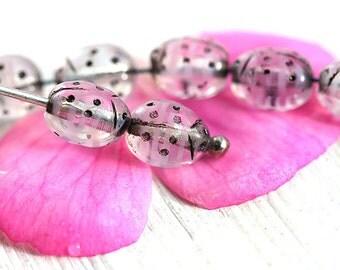 Small Ladybug beads, Light Pink, black dots, Czech Glass beads, pressed beads, tiny ladybirds - 7mm - 25Pc - 2575