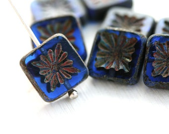 8pc Square beads, Sapphire Blue Czech glass beads, picasso finish, table cut, carved squares - 10mm - 8Pc - 1403