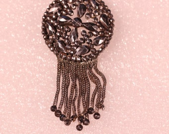 Antique Cut Steel Dangle Brooch French Victorian Floral Jewelry