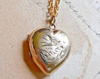 Sweet Victorian Vintage Engraved Bird Gold Filled Locket