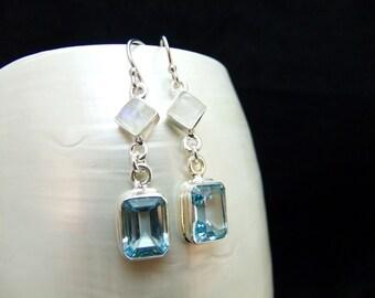 Ice Blue Topaz & Moonstone Silver Drop Earrings