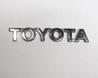 Chrome TOYOTA Emblem, car nameplate, custom car, automobile, 4 3/4 inches