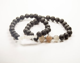 Anxiety - PMS - Harmony - Breastfeeding - Moonstone & Lava bead - Essential Oil diffuser bracelet