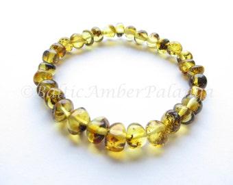 Baltic Amber Light Green Color Bracelet