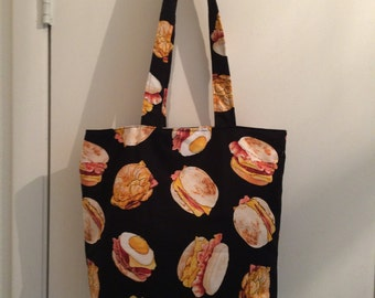 "Egg, Cheese, Ham and Bacon Breakfast Sandwiches fabric print 14"" x 14"" Handmde Tote Bag"