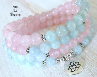 Aquamarine, Rose quartz mala,Om, Mala Bracelet or Necklace,Reiki charged, Buddhist Rosary, Prayer beads, Gemstone, wrist mala, Lotus, buddha