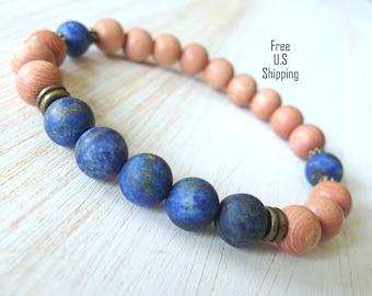 Rosewood, Lapis lazuli, healing bracelet, Yoga Bracelet, mala, Meditation bracelet, Reiki, wrist mala, Lapis bracelet, wood beads, tribal