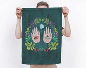 Megacosm Nature Inspired Cotton Linen Tea Towel - for use in the kitchen or hang as an art piece!