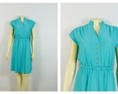 Vintage Dress 70s LF Petite Teal Turquoise Belted Dress Spring Summer Cap Sleeves Day Dress Union Made in USA Size Small