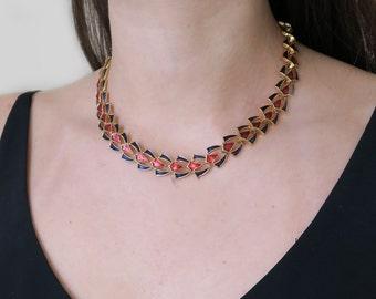 Vintage Gold Tone Enamel Collar Necklace