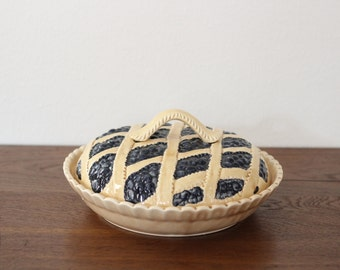 Vintage Ceramic Blueberry Pie Plate Cover