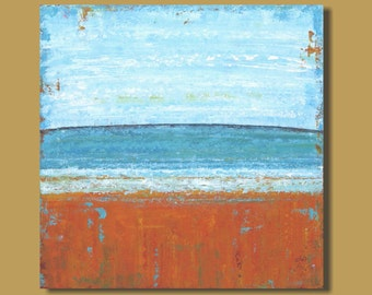 large beach painting, ocean painting, abstract painting, orange and turquoise blue, square wall art, abstract landscape, modern art, 30x30
