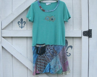 Patchwork tunic, M-L, hippie chic, bohemian dress, Rustic hippie style