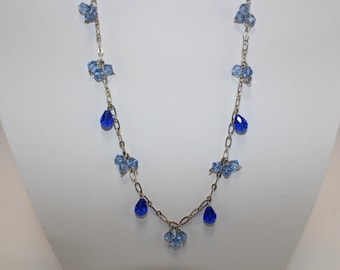 Blue crystal and silver chain necklace set
