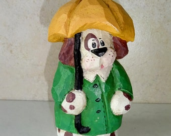 Vintage Dog Figurine Statue Dog in Raincoat with Umbrella Resin Figurine
