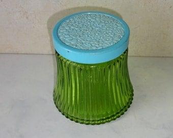 Vintage Avon Green Bottle Jar Blue Lid Field Flowers Lotion