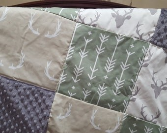Buck Patchwork Blanket- Gray Buck, Tan Antlers, Sage Arrows, and Gray Minky Baby Blanket
