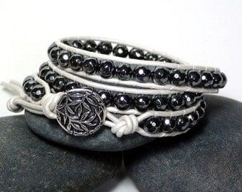 Grey Hematite White Leather Wrap Bracelet