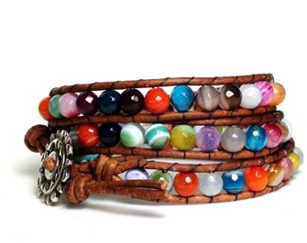 Multicolored Agate Leather Wrap Bracelet