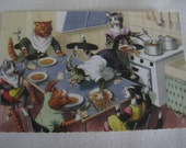 Vintage Alfred Mainzer Cats at the Dinner Table Postcard