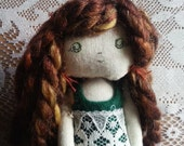 Reserved listing for ella101304.  Wolf Girl miniature rag doll.