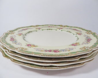 Set of 4 Johnson Brothers Old Staffordshire Granville Dinner Plates