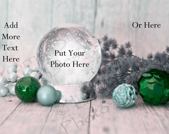 Cute digital template snowglobe perfect for family Christmas photos or other elegant holiday occasions Green Ornaments Snowglobe Photoshop