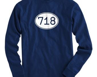 LS Area Code 718 Tee - Long Sleeve NYC T-shirt - Men and Kids - S M L XL 2x 3x 4x - New York City, Brooklyn, Queens, Bronx - 4 Colors
