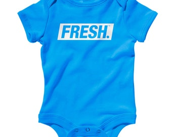 Baby Fresh Boxed Logo Romper - Infant One Piece, Creeper - NB 6m 12m 18m 24m - Stay Fresh, Cool, Fun - 3 Colors